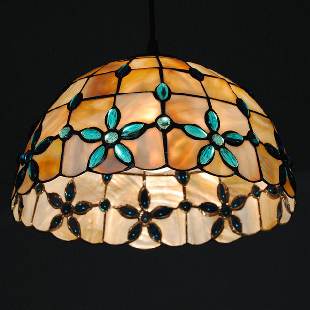 New E26 E27 Tiffany Shell Pendant Lamp European Retro Stained Glass Hanging Light Dining Room Living Lighting Fixture PL607