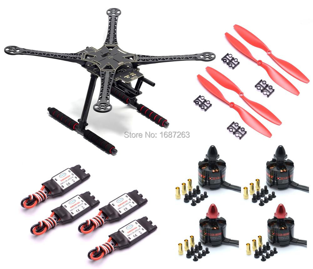 Oyuncaklar ve Hobi Ürünleri'ten Parçalar ve Aksesuarlar'de F450/S500/X500 500mm drone iskeleti kiti + MT2213 935KV fırçasız motor + 30A Simonk ESC FPV için Yarış drone'da  Grup 1