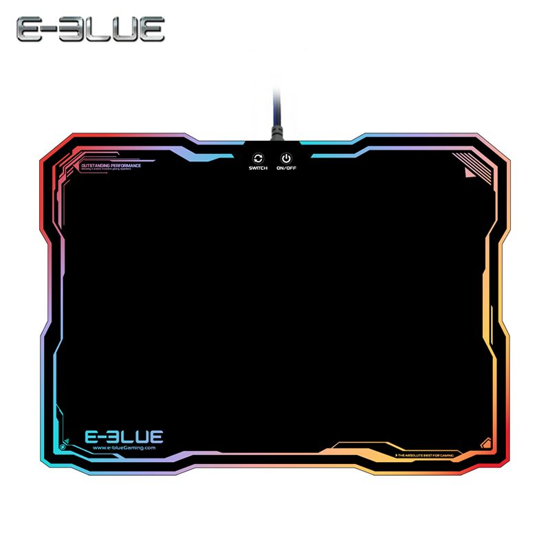 E-3LUE Original Mouse Pads EMP013 Pro Gaming Mouse Pad Gamer with 10 Models RGB Light Rubber Mice Mousepad E-Blue Muismat e 3lue ems109 wired gaming mouse white