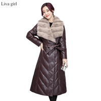 Women Fall Winter Long Fake Leather Black Red Color Jacket Full Sleeve Warm Faux Fur Collar Outerwear Free Shipping CKP 002