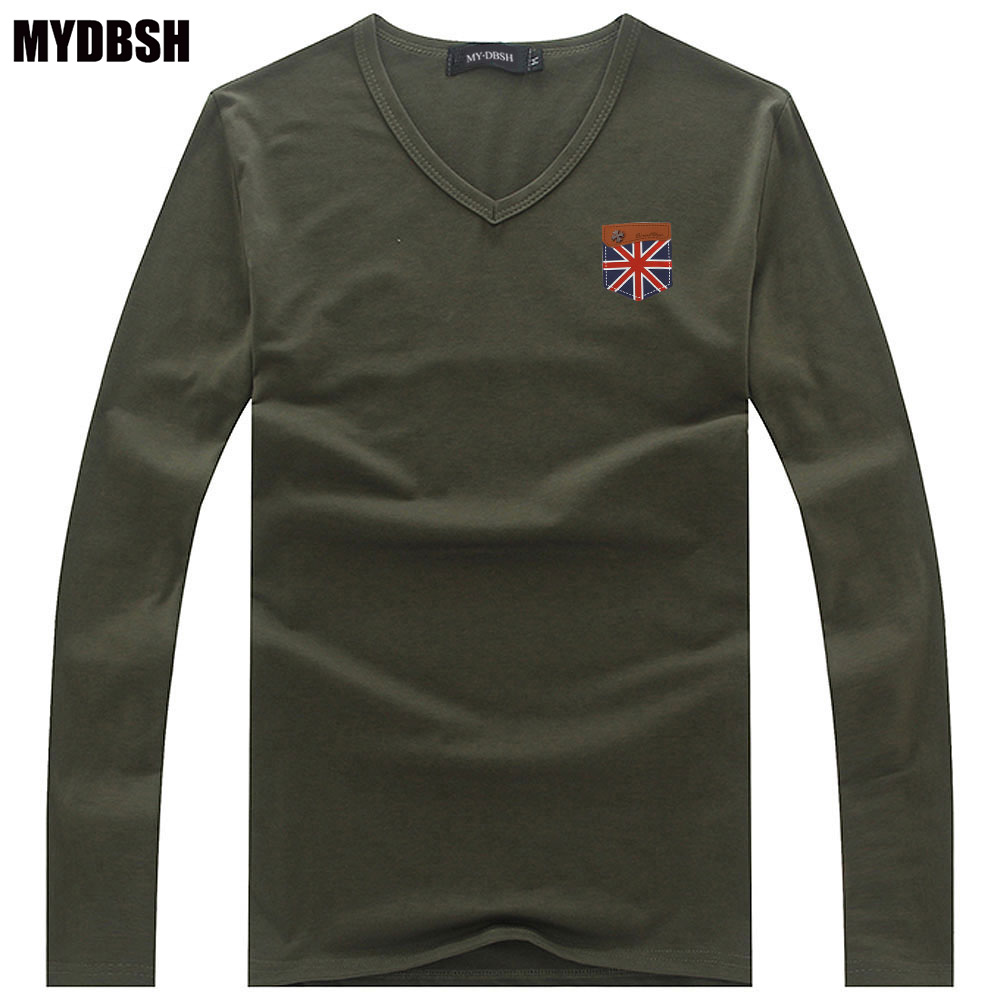 MYDBSH England Flag Embroidery Cotton Tshirts for Men Casual Solid ...