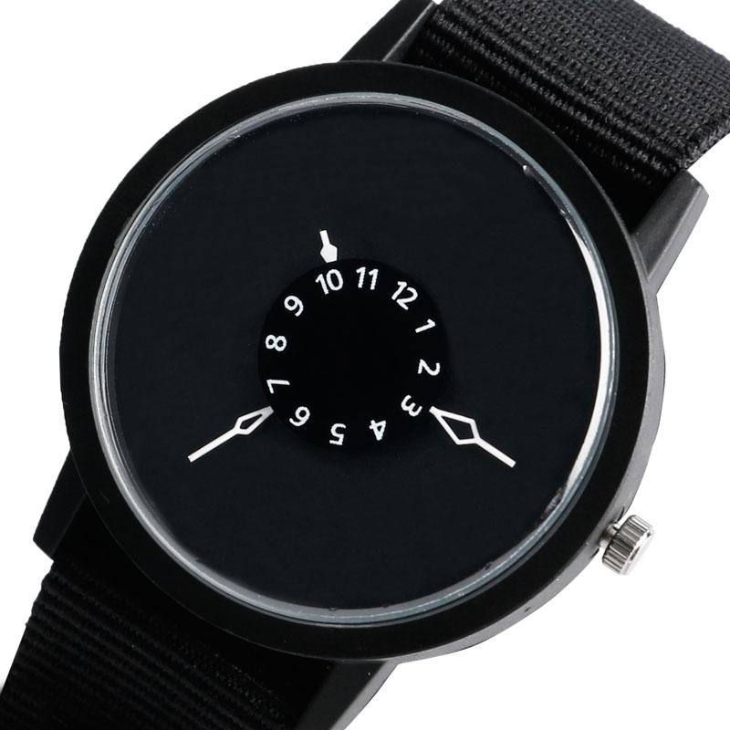 Casual Watch Men Women Turntable Design Brief Nylon Black Nato Strap Unique Wristwatches Modern Trendy Quartz-watch Clock