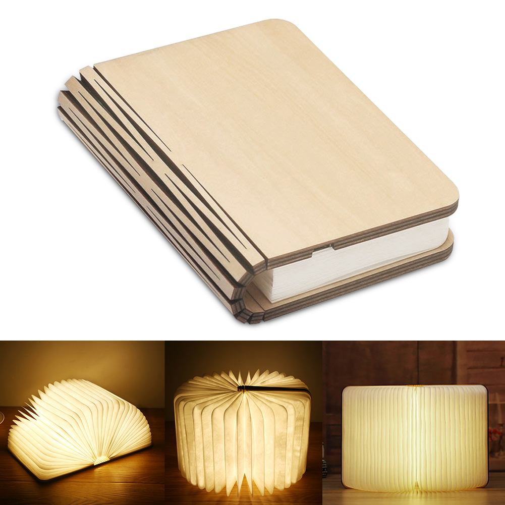 Wooden Book Lamp Portable USB Rechargeable LED Magnetic 3 Color Dimmable Foldable Night Light Desk Lamp Home Decor Dropshipping(China)