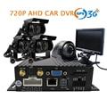 O Envio gratuito de 4 CH GPS 3G SD 720 P AHD DVR Carro Gravador De Vídeo + 4 Pcs de Volta Traseiro Lateral Vista Frontal Da Câmera Caminhão Do Carro de Metal + Monitor de