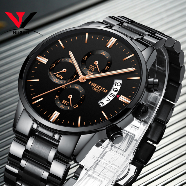2019 NIBOSI Gold Quartz Watch Top Brand Luxury Men Watches Fashion Man Wristwatches Stainless Steel Relogio Masculino Saatler 5