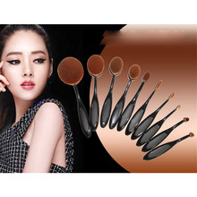 2016 Hot Sale Soft 10pcs Toothbrush Shaped Foundation Power Oval Puff Makeup Brushes Set Kits Pincel Maquiagem Drop Shipping