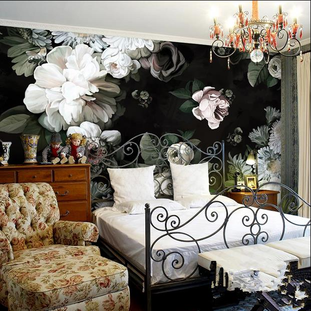 Free Shipping Custom 3d Hand Painted Black Flowers Wallpaper Living