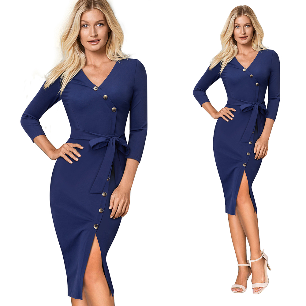 HTB1wzZIKqmWBuNjy1Xaq6xCbXXaJ - Women's V-Neck Split Slim Pencil Office Dress-Women's V-Neck Split Slim Pencil Office Dress