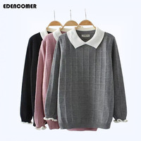 Plus Size Pull Femme for Women 2017 Winter New Doll Collar Loose Large Size 3XL 4XL Women Knitting Pullover Bottoming Sweater