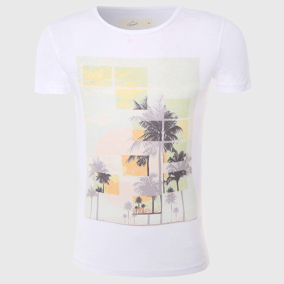 오프 화이트 T 셔츠 남성용 팜 프린트 T 셔츠 코튼 티셔츠 Mens 티셔츠 반소매 하와이 패션 남성상의