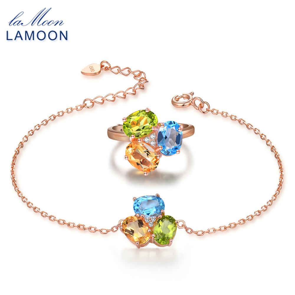 LAMOON 100% 925-Sterling-Silver 2PCS Jewelry Sets For Women Natural Citrine Peridot Topaz S925 Fine Jewelry For Women V003-10LAMOON 100% 925-Sterling-Silver 2PCS Jewelry Sets For Women Natural Citrine Peridot Topaz S925 Fine Jewelry For Women V003-10