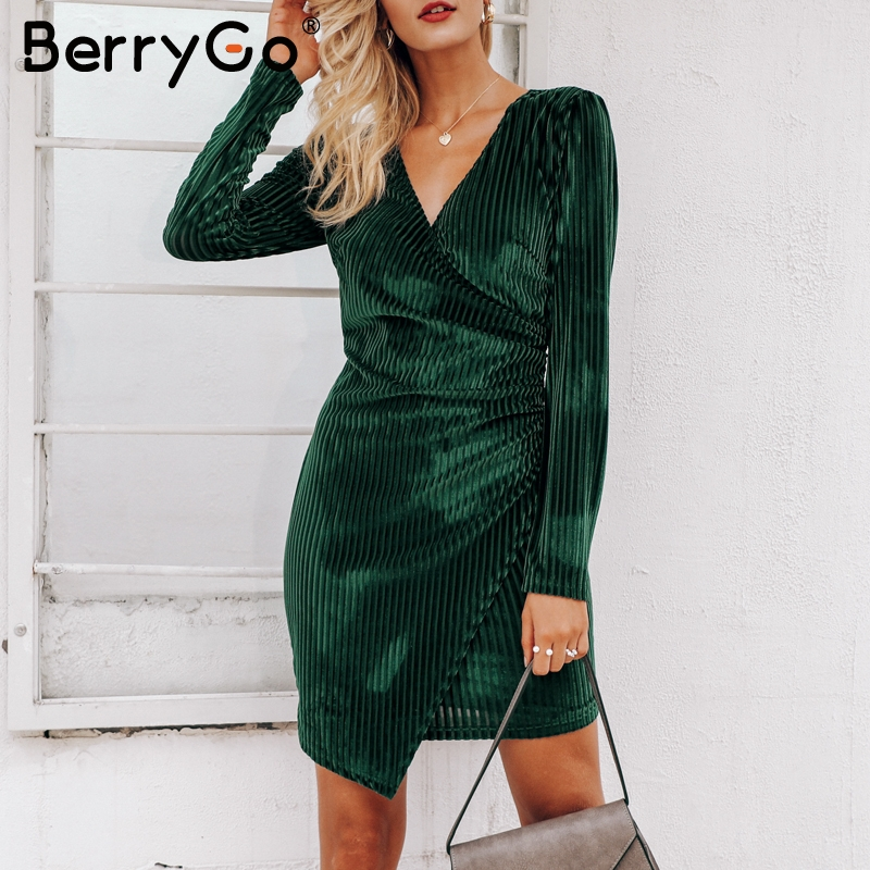 BerryGo Vintage solid wrap velvet women dress  Elegant sexy slim fit female vestidos V neck party winter mini dress streetwer