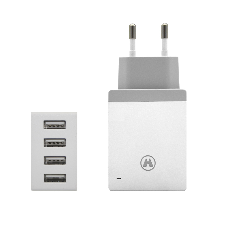 Quick Charge 5V 2.4A 4-Port USB Travel Wall Fast Charger Adapter Travel Multiple Adaptor for Apple iPhone iPad Xiaomi Smartphone