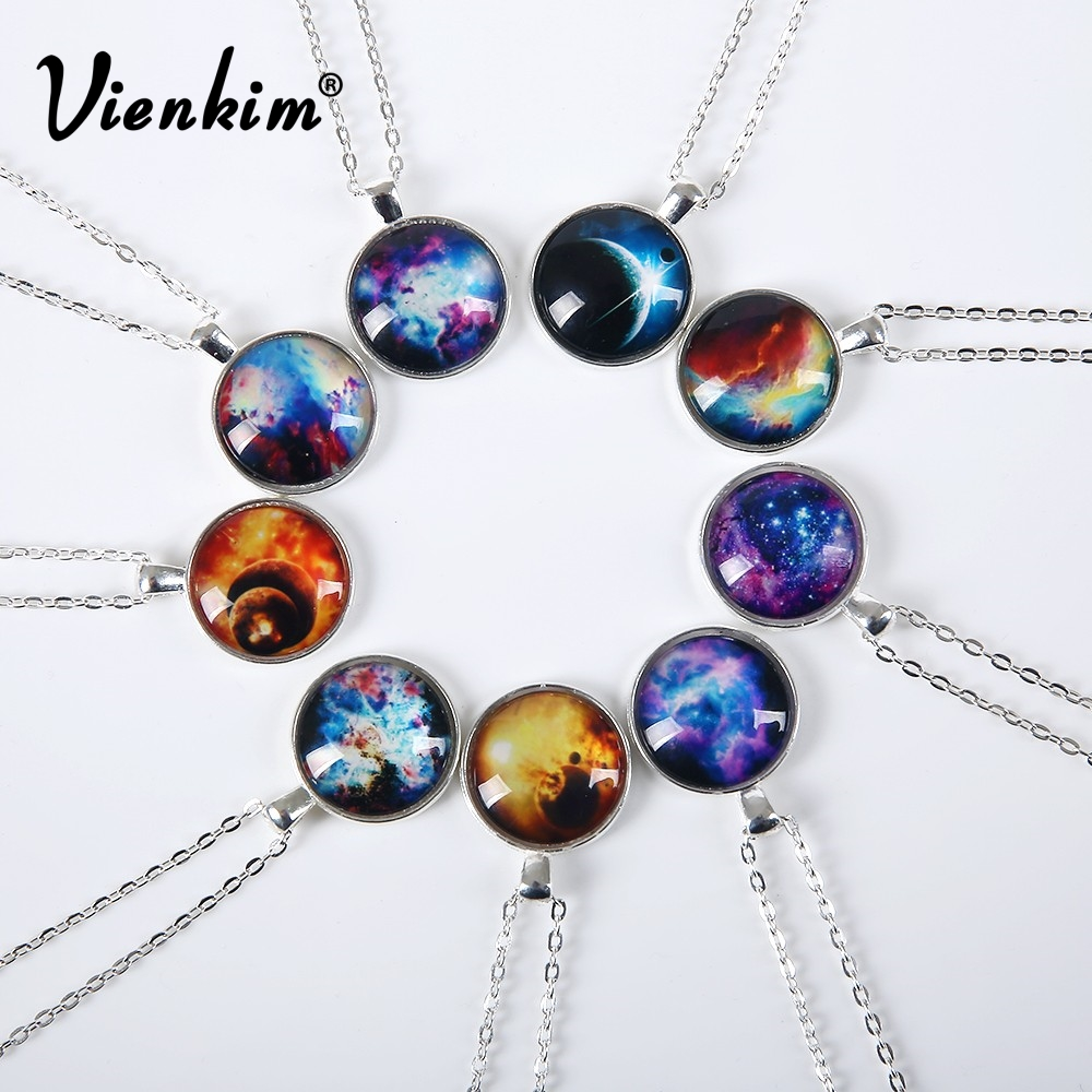 Vienkim 2019 New Fashion Galaxy Necklaces Nebula Space Glass Cabochon Pendants Brand Jewelry For Women Men Best Friend Ship Gift