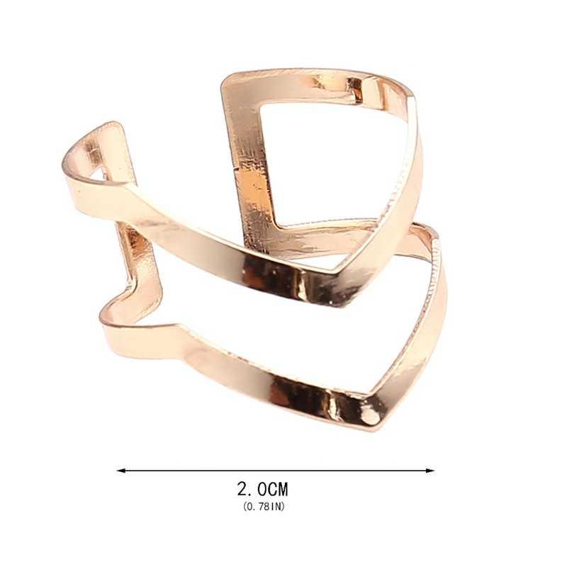 אופנה זהב כסף מצופה כפול V-בצורת חצי נפתח מתכוונן בציר אישה טבעות מקסים תכשיטים