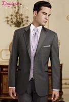 Linyixun 2018 Men suit Costume homme Two Button Notch lapel Groom Tuxedos Best Man Groomsmen Prom Suits Men Wedding Suits