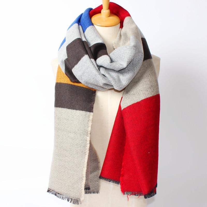 llegado de invierno moda mujeres euro mix color patchwork rayas de colores