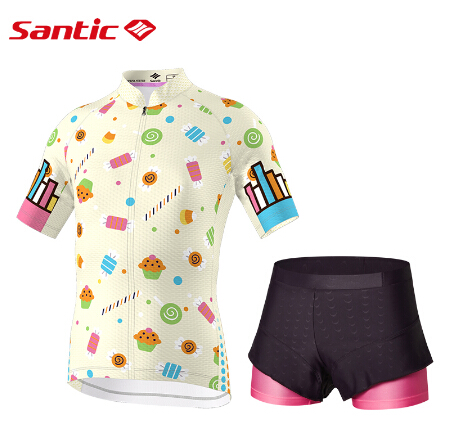 Santic Padded Girls Childrens Short Riding-Dress Cycling And No WL7CT065 Elastic-Technology