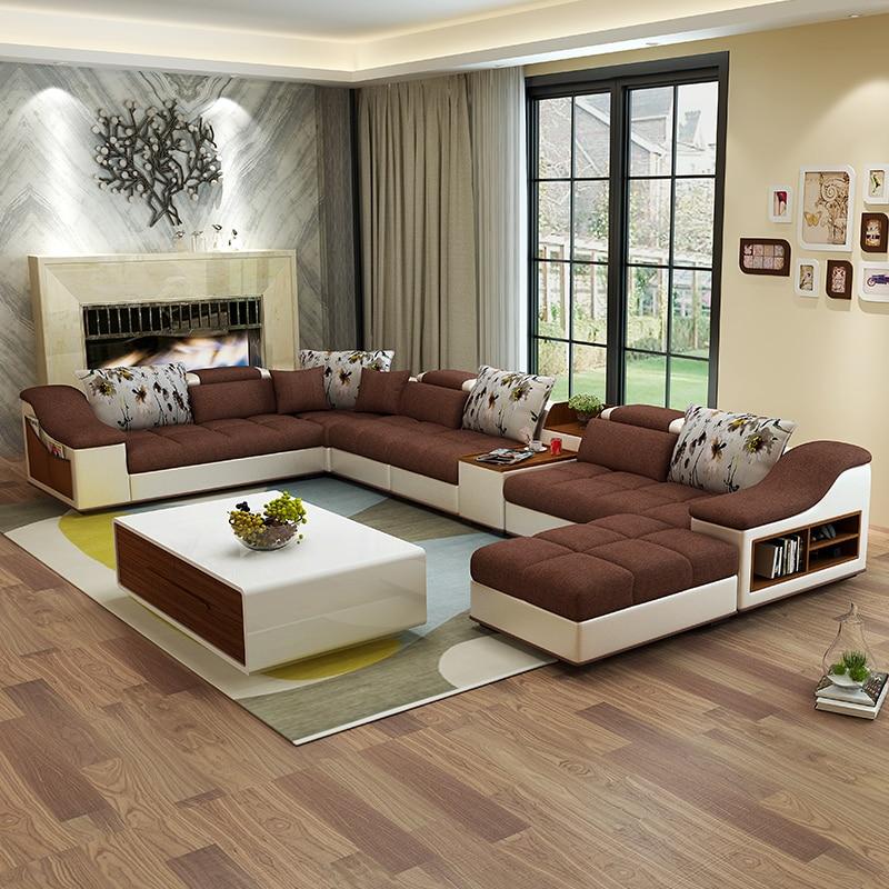 Living Room Furniture Modern U Shaped Leather Fabric Corner - U shaped leather sectional sofa