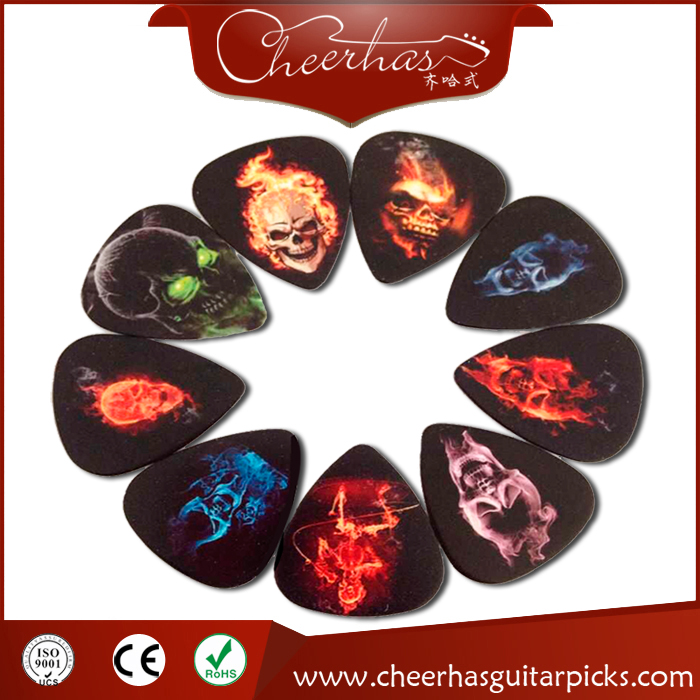 50pcs 9 designs double sides printing 0.71mm skull guitar picks plectrum