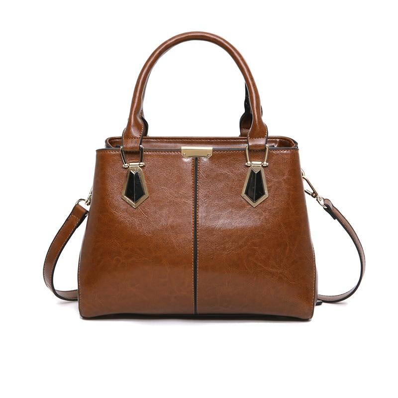2018 High Quality 100% Genuine Leather Women Handbag Designer Tote Black Shoulder Bag Vintage Satchels Top Summer Strap Hand Bag