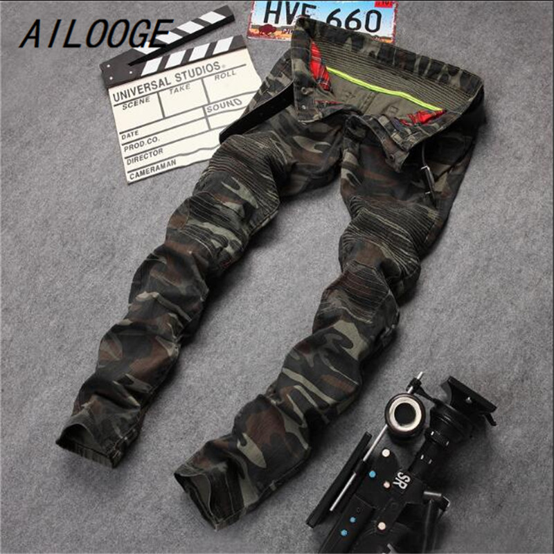 AILOOGE 2017 New Mens Camouflage Jeans Motorcycle Camo Military Slim Fit Famous Designer Biker Jeans With Zippers Men HZ448