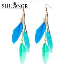 SHUANGR 2017 Long Drop Earring Fashion Feather Style Ethnic Boho Big Dangle Statement Earring Wedding Earrings Accessories