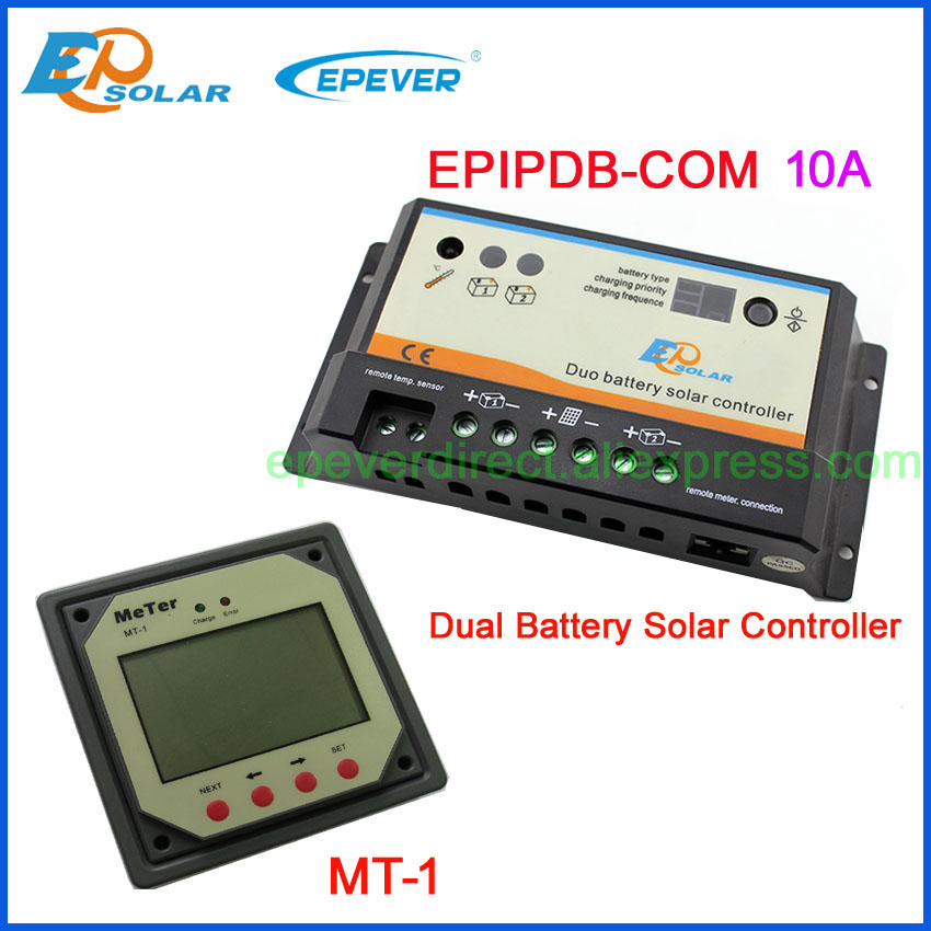 EPSOLAR EPIP-COM 10A 12V 24V EPEVER Dual Battery Two Battery Charger Solar Controller Free Shipping PWM with MT-1 5pcs lot intersil isl8121irz isl8121qfn 3v to 20v two phase buck pwm controller with integrated 4a mosfet drivers
