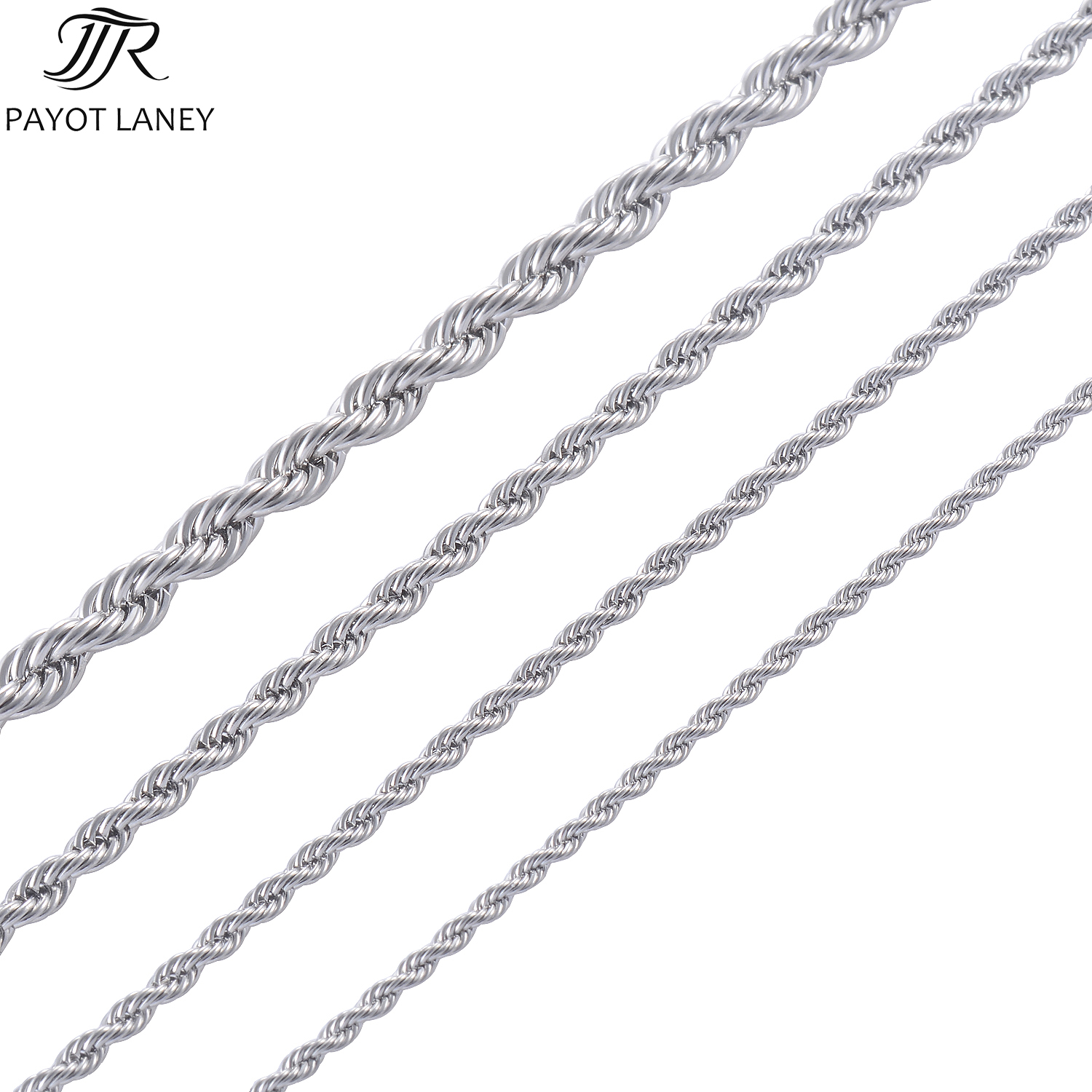 Chain Width 226mm 316L Stainless Steel Rope Chain Necklace Women Men Silver Tone Rope Chain Jewelry Unisex