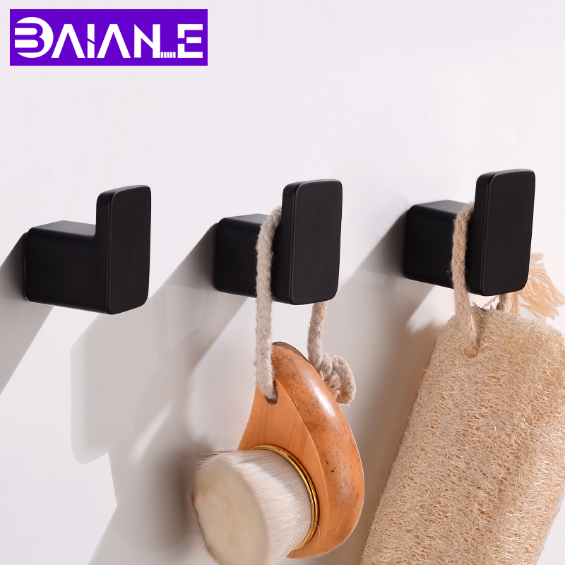 Robe Hooks Black Aluminum Towel Hook Bathroom Wall Mounted Coat Hanger Vintage Square Base Bathroom Accessories Set Decorative