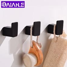 Ganchos de Bata de aluminio negro gancho de toalla de baño montado en la pared percha de abrigo Vintage Base cuadrada Set de accesorios de baño decorativo