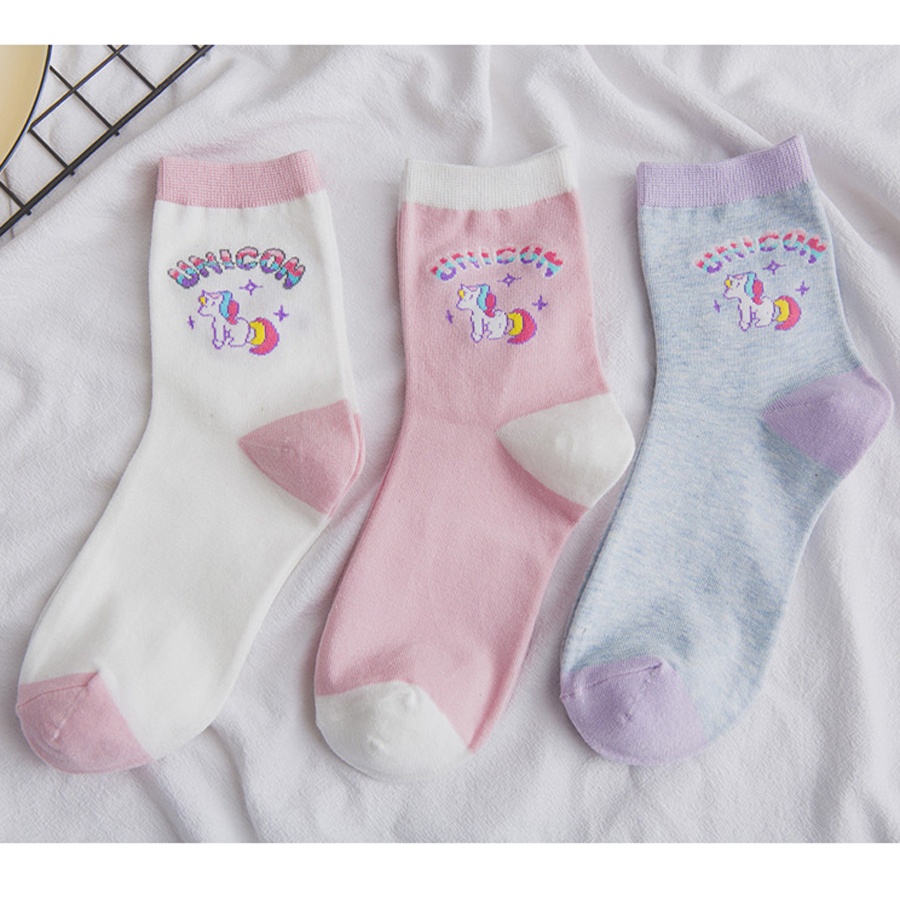 Adult Size Unicorn   Socks   Girly Girl Ulzzang Harajuku Rainbow Stars Cartoon College Animal Horse Macaroon Horn Dusk Purple Taro