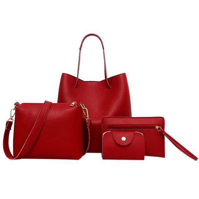Women Lady Leather 4 Set...