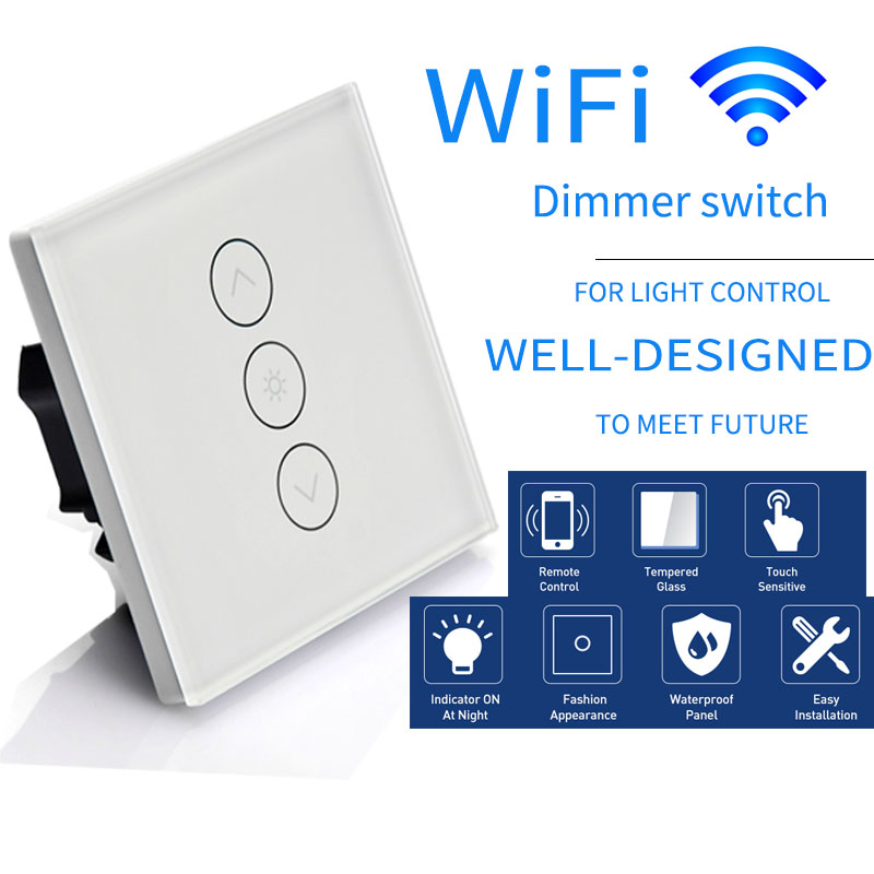 Voice Control EU Standard WiFi Touch Dimmer Switch Smartphone APP Remote Control work with Alexa and Google home For LED Lamps mini wifi rgb strip light controller with music control and voice control compatible with google home