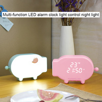 Multifunction Cartoon Pig Alarm Clock Temperature Lamp Function USB Charge Clock for Bedroom WWO66