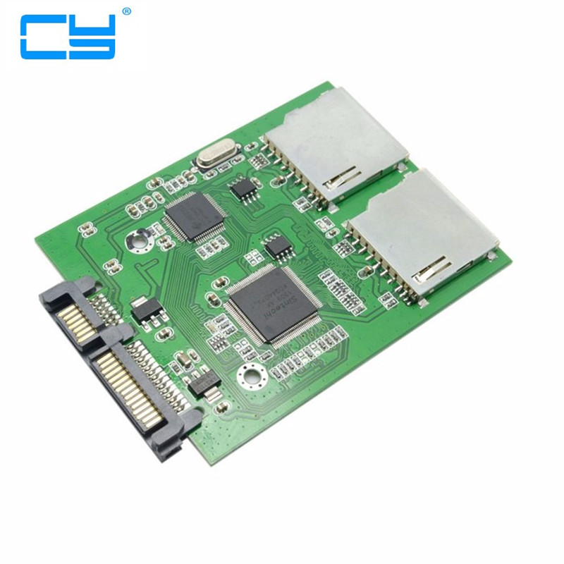 Dual SD SDHC MMC Memory Card to 7+15 Pin 22pin SATA Male Convertor Kit RAID0 Adapter Adaptor
