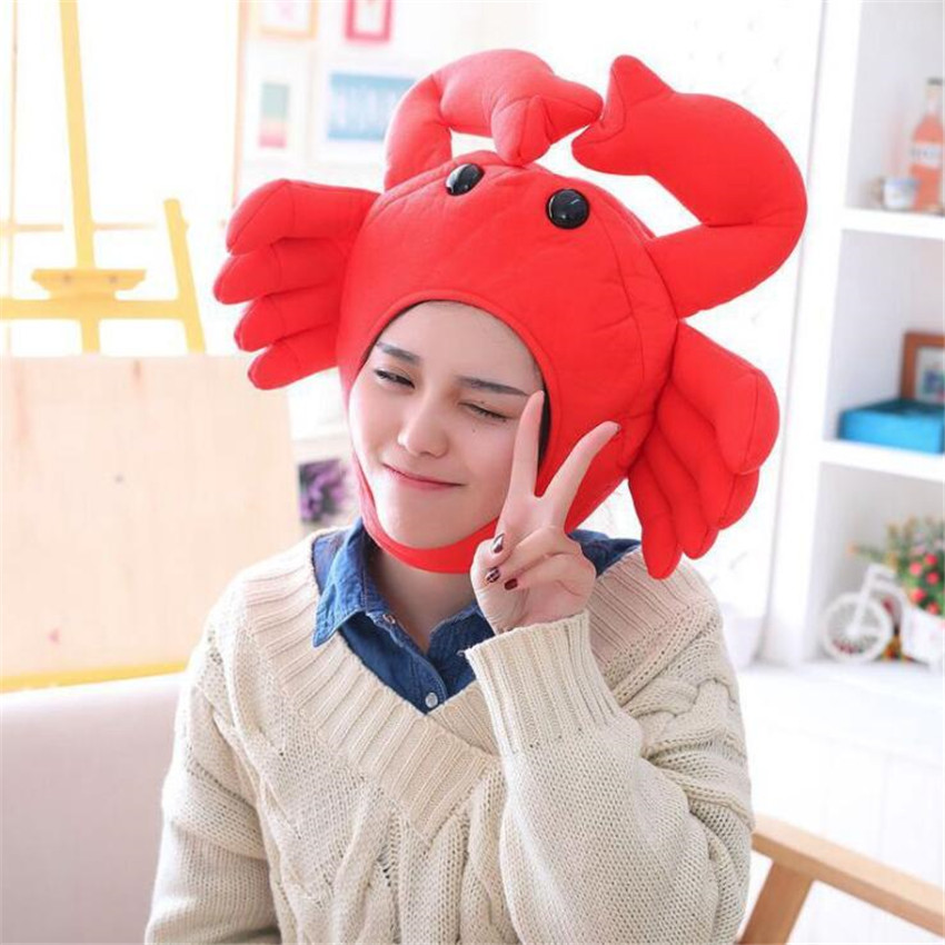 Hot Red Crab Hat Cosplay Costumes Props Accessories Plush Head Fancy Cap Take Photos Keep Warm