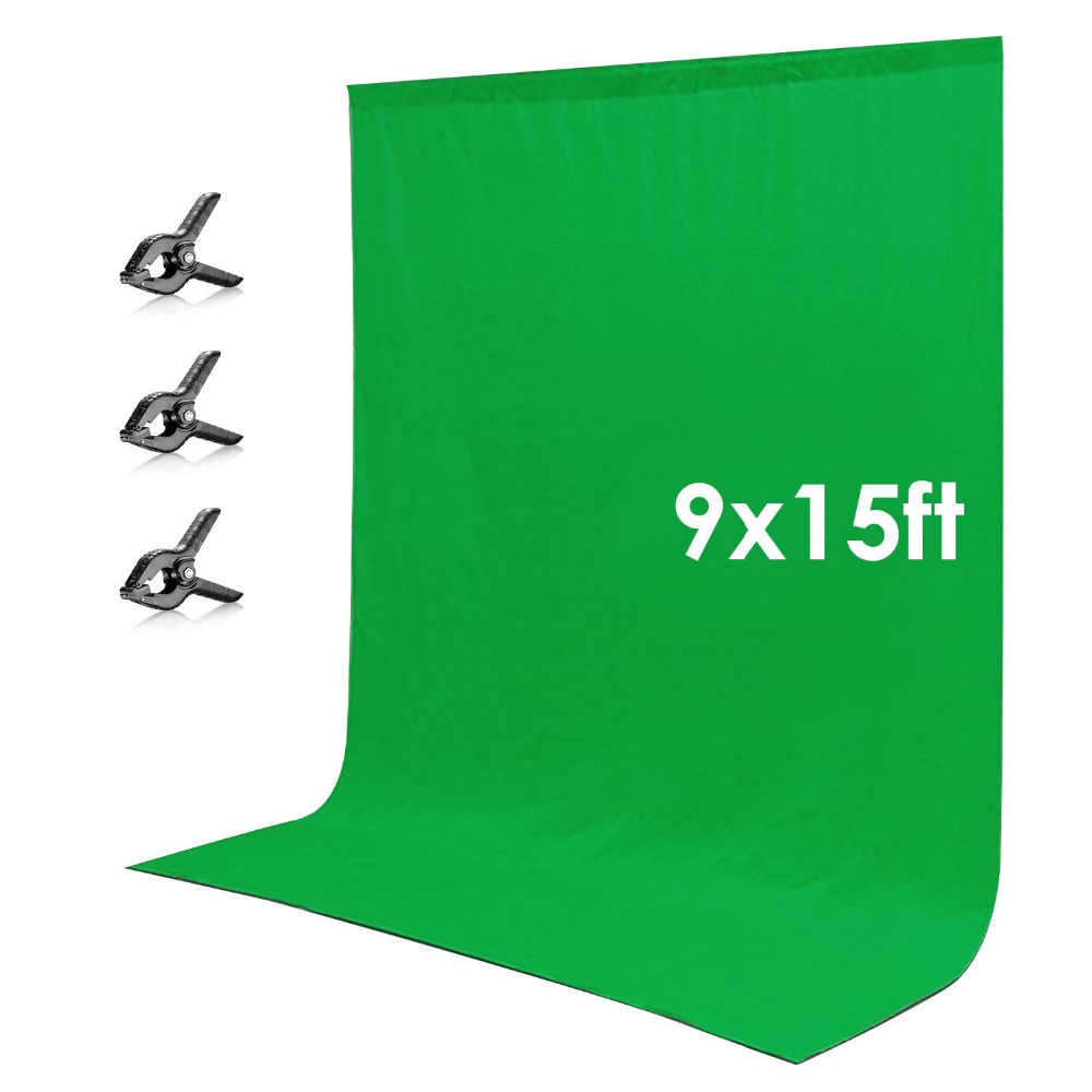 Neewer 9x15 футов/2,7x4,6 м зеленый хромаки Муслин Фон экран + 3 зажима для фото видео студийной фотографии