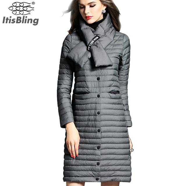 Jaquetas de inverno 90% de Pato Branco Para Baixo 2016 das Mulheres da Moda Cor Sólida Fina Magro Single-breasted Casaco Longo Parkas Outwear