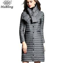 Зима 90% Белая Утка Вниз Куртки 2016 Долго Моды женщин Парки Сплошной Цвет Тонкий Тонкий однобортный Пальто пиджаки