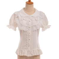 Sweet Lolita Princess Blouse Womens White Lace Short Sleeve Slim Chiffon Shirt