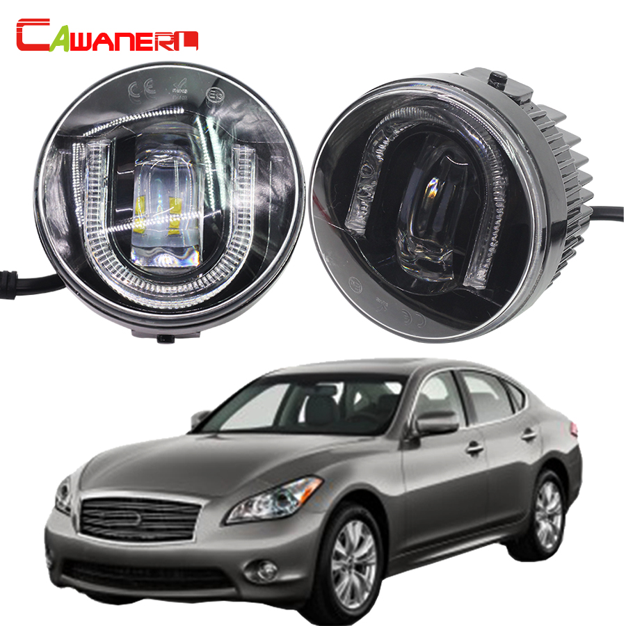 Cawanerl Car Styling LED Fog Light Daytime Running Lamp DRL High Lumens 1 Pair For Infiniti M56 2011 2012 2013 cawanerl 1 pair car light led fog lamp drl daytime running light white 12v for subaru trezia hatchback 1 3 1 4d 2011 onwards