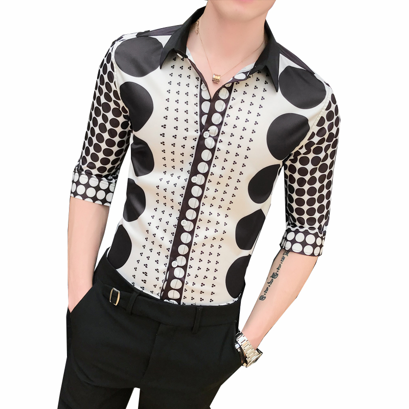 2019 New Spring and Autumn Luxury Social Men's Half-sleeved Shirt Dot Stitching Designer Speech Business Casual Slim Shirt image