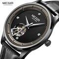 Мужские механические часы MEGIR  спортивные автоматические часы с кожаным ремешком