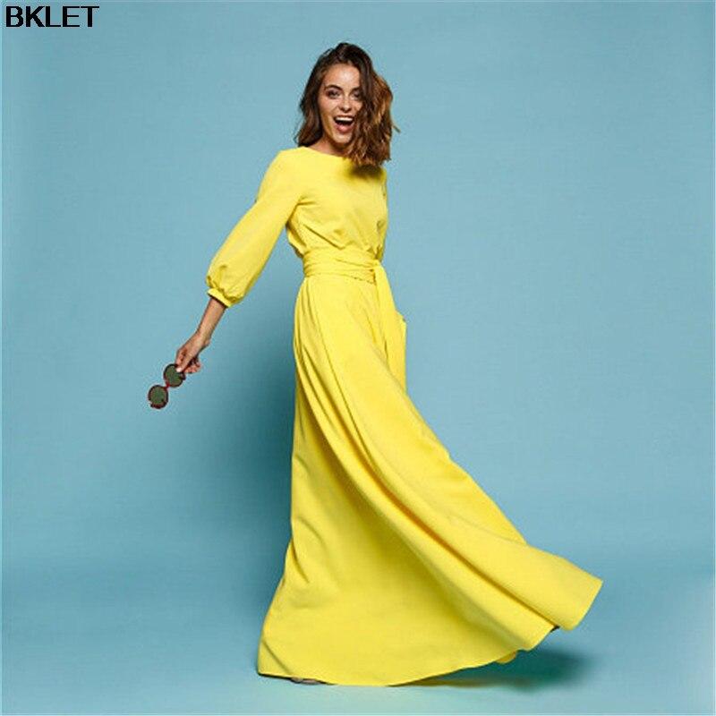 Nuevo otoño amarillo Vestido De cuello De manga tres cuartos De la piso-longitud Maxi Plus tamaño Vestido S-4XL Vestido De Festa vestido de mujeres largo