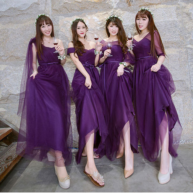 Popodion purple bridesmaid dresses long for wedding guests sister ...