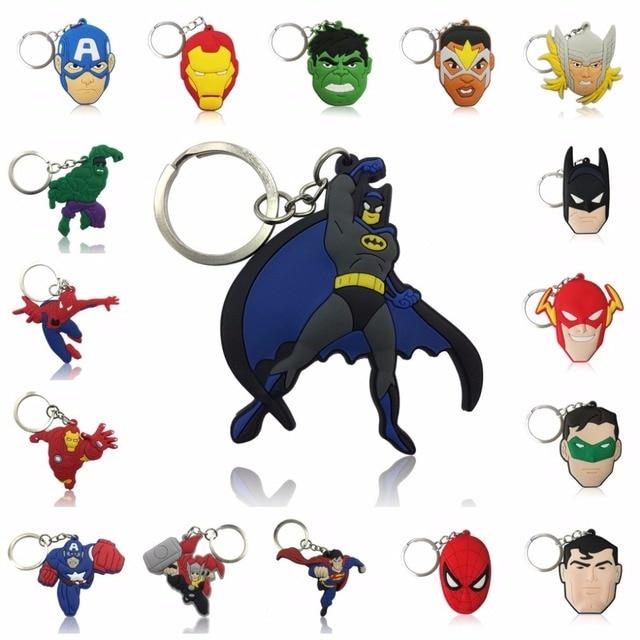 1 pcs Figura Dos Desenhos Animados da Marvel Avenger Anime Hulk Batman Chave Anel Chave Da Cadeia de PVC Kid Toy Pingente Super Herói Chaveiro titular Presente de Natal