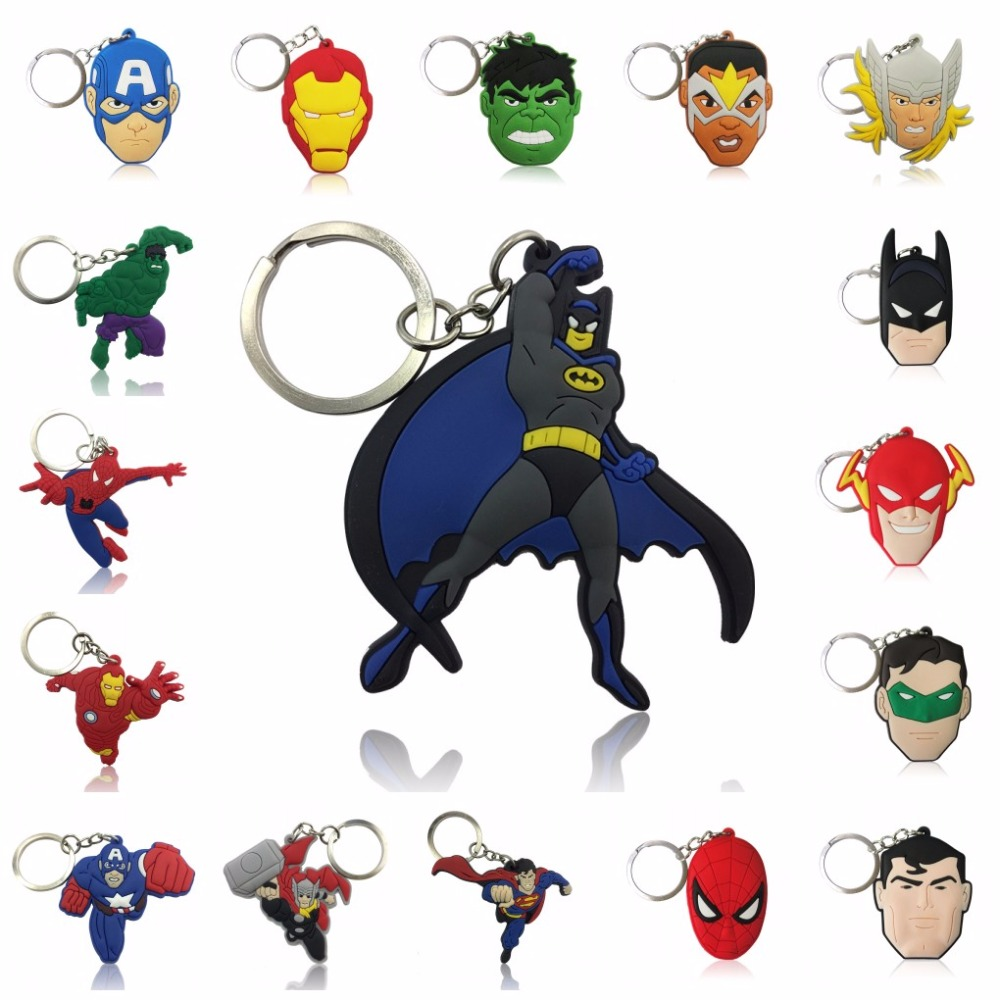 1pcs Cartoon Figure Marvel Avenger Key Chain PVC Anime Hulk Batman Key Ring Kid Toy Pendant Super Hero Keychain Holder Xmas Gift
