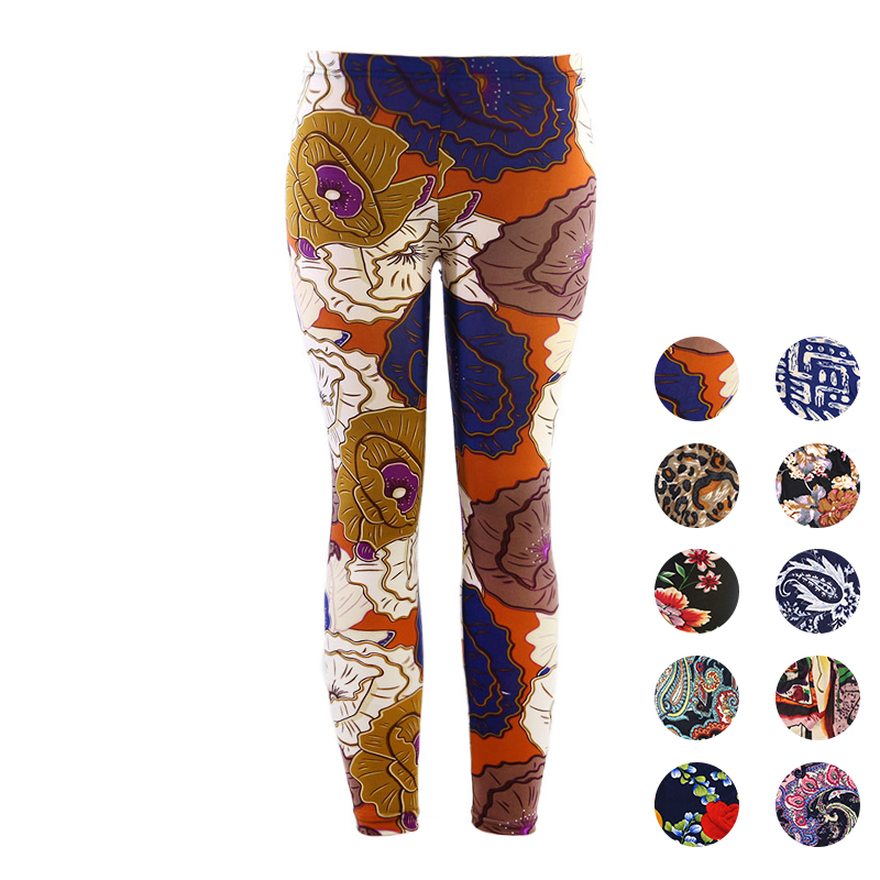 Women   Leggings   High Waist Stretch Elasticity Leggins Summer Slim Skinny   Leggings   Pant Female Printed Workout Thin Pants