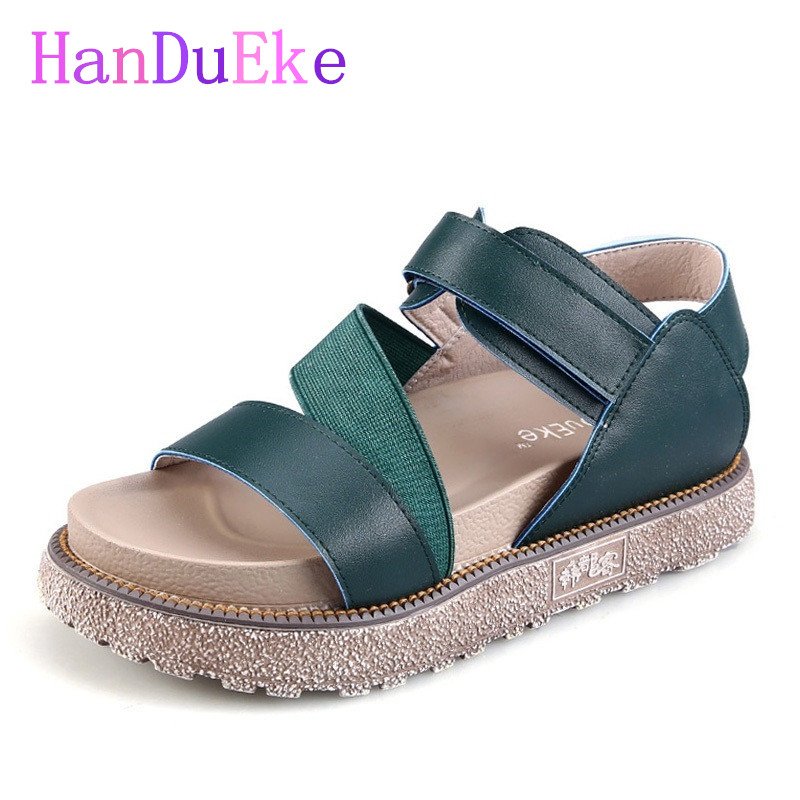 HanDuEKe New 2017 Women Platform Sandals Summer Rome Fashion Genuine Leather Gladiator Sandals Casual Beach Shoes Woman Sandals phyanic 2017 gladiator sandals gold silver shoes woman summer platform wedges glitters creepers casual women shoes phy3323